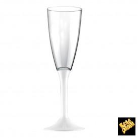 Copa de Plastico Cava con Pie Blanco 120ml (200 Uds)