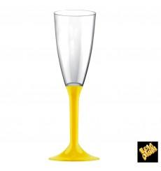 Copa Plastico Cava Pie Amarillo 120ml 2P (20 Uds)