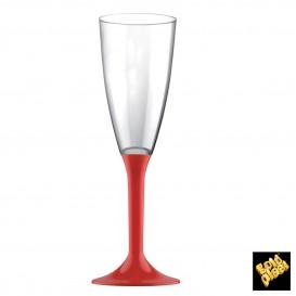 Copa de Plastico Cava con Pie Rojo 120ml (20 Uds)