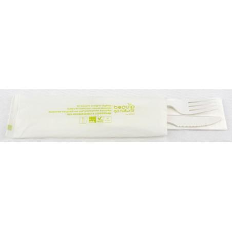 Set Cubiertos Tenedor, Cuchillo y Servilleta PLA (20 Uds)