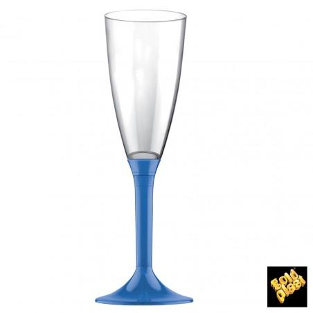 Copa de Plastico Cava con Pie Azul Transp. 120ml (20 Uds)