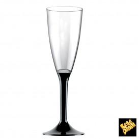 Copa de Plastico Cava con Pie Negro 120ml (20 Uds)