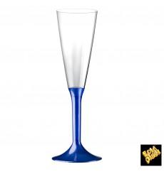 Copa Plastico Cava Pie Azul Perlado 160ml 2P (200 Uds)