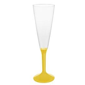 Copa de Plastico Cava con Pie Amarillo 160ml (20 Uds)
