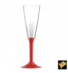Copa Plastico Cava Pie Rojo 160ml 2P (20 Uds)