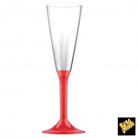 Copa de Plastico Cava con Pie Rojo Transp. 160ml (20 Uds)
