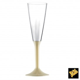 Copa de Plastico Cava con Pie Crema 160ml (20 Uds)