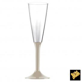 Copa de Plastico Cava con Pie Beige 160ml (20 Uds)