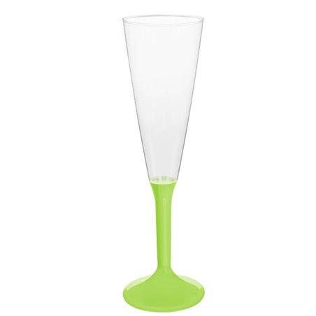 Copa de Plastico Cava con Pie Verde Lima 160ml (20 Uds)