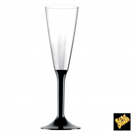 Copa de Plastico Cava con Pie Negro 160ml (200 Uds)