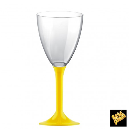 Copa de Plastico Vino con Pie Amarillo 160ml (20 Uds)