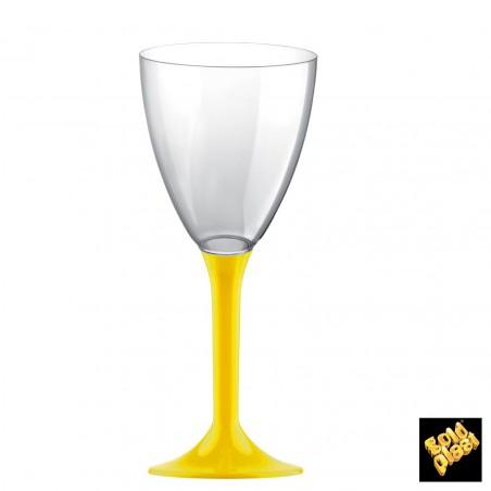 Copa de Plastico Vino con Pie Amarillo 160ml (200 Uds)