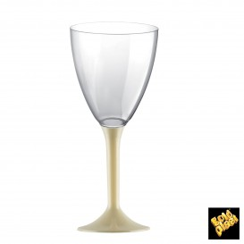 Copa de Plastico Vino con Pie Crema 160ml (20 Uds)