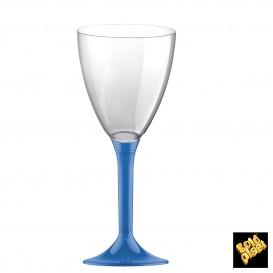 Copa de Plastico Vino con Pie Azul Transp. 180ml (20 Uds)