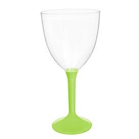 Copa de Plastico Vino con Pie Verde Lima 300ml (20 Uds)