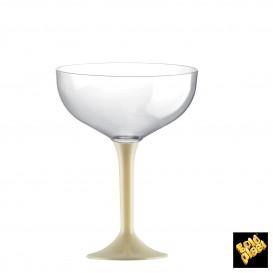 Copa de Plastico Champan con Pie Crema 120ml (20 Uds)