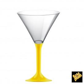 Copa de Plastico Cocktail con Pie Amarillo 185ml (200 Uds)