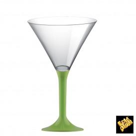 Copa de Plastico Cocktail con Pie Verde Lima 185ml (20 Uds)