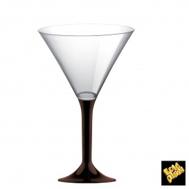 Copa de Plastico Cocktail con Pie Marron 185ml (20 Uds)