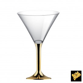 Copa de Plastico Cocktail con Pie Oro Cromado 185ml (20 Uds)