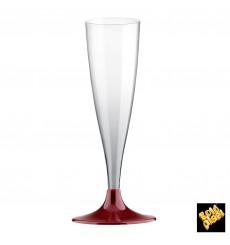 Copa Plastico Cava Pie Burdeos 140ml 2P (20 Uds)