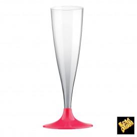 Copa de Plastico Cava con Pie Fucsia 140ml (20 Uds)