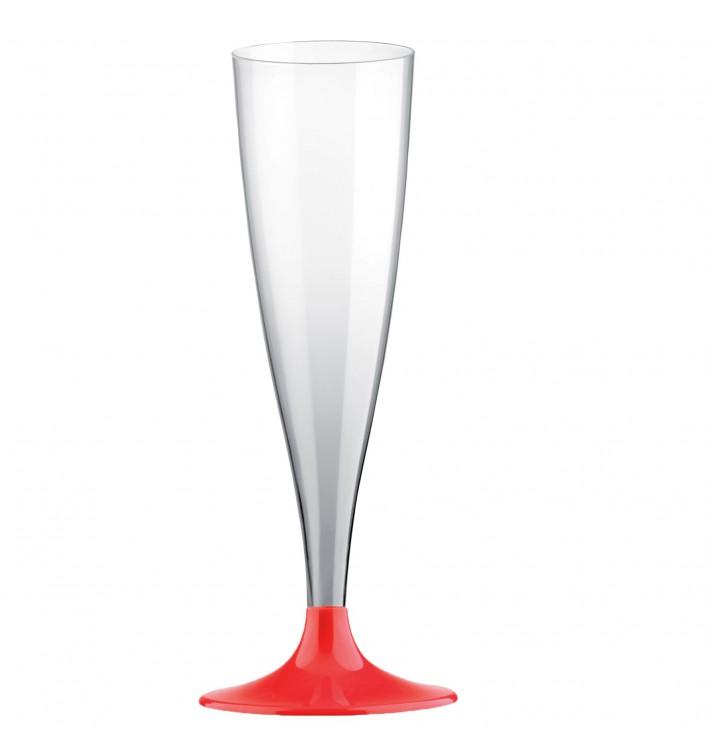 Copa de Plastico Cava con Pie Rojo 140ml (20 Uds)