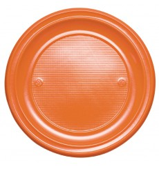 Plato de Plastico Llano Naranja PS 220mm (780 Uds)