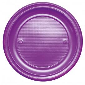 Plato de Plastico Llano Violeta PS 220 mm (30 Uds)