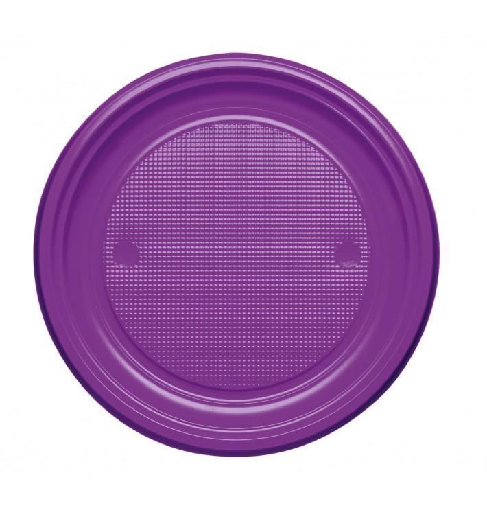 Plato de Plastico PS Llano Violeta Ø170mm (50 Uds)