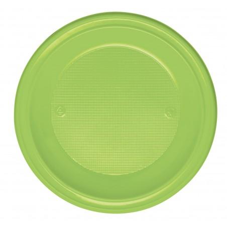 Plato de Plastico PS Hondo Verde Lima Ø220mm (600 Uds)