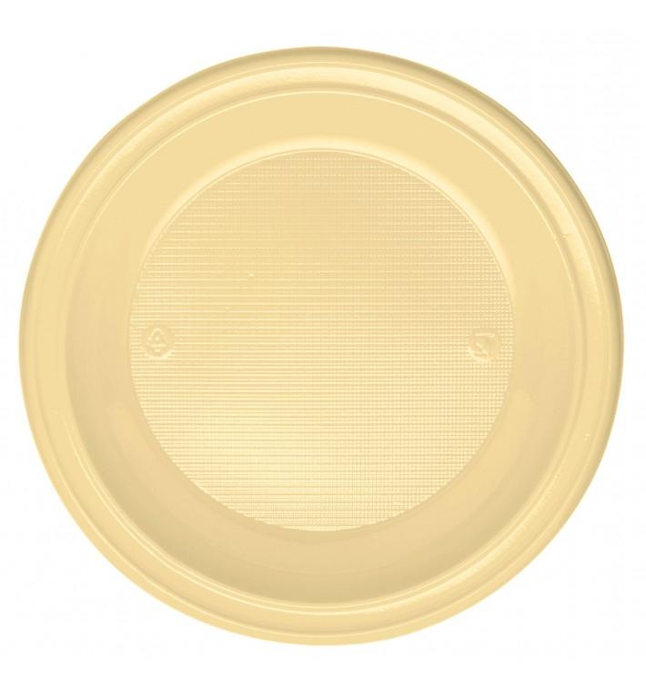 Plato de Plastico PS Hondo Crema Ø220 mm (30 Uds)
