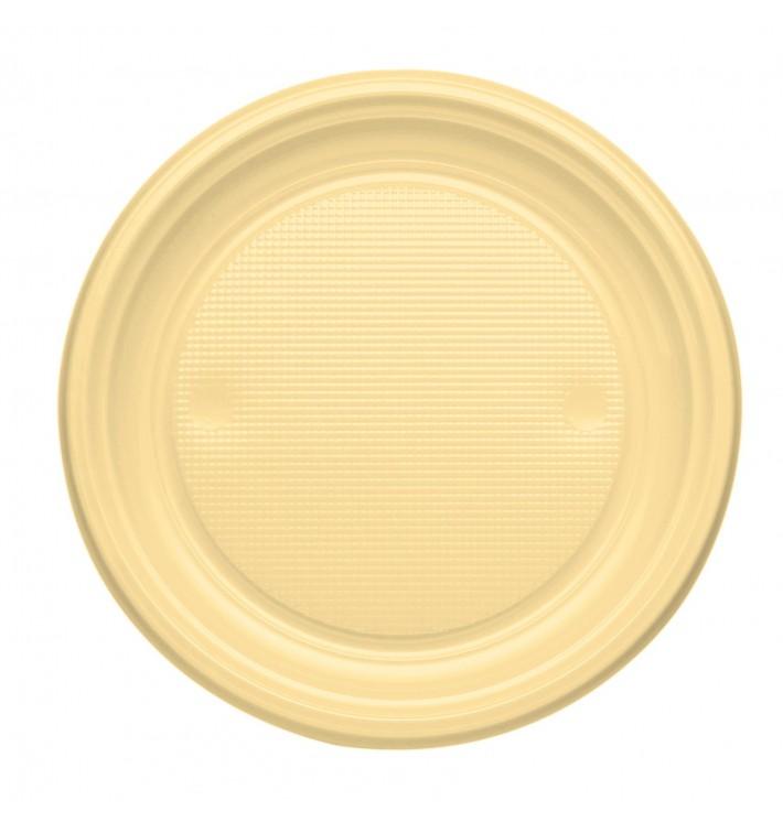 Plato de Plastico PS Llano Crema Ø170mm (50 Uds)