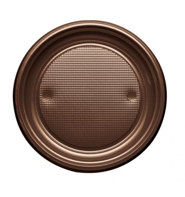 Plato de Plastico PS Llano Chocolate Ø170mm (1100 Uds)