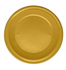 Plato de Plastico Hondo Oro PS 220mm (600 Uds)