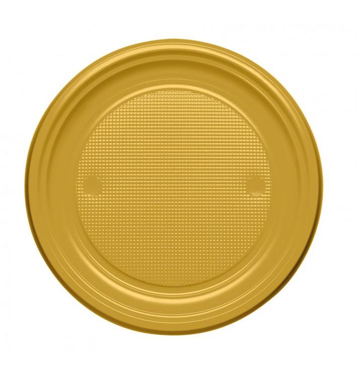 Plato de Plastico PS Llano Oro Ø170mm (50 Uds)