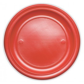 Plato de Plastico Llano Rojo PS 220 mm (30 Uds)