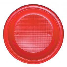 Plato de Plastico Hondo Rojo PS 220 mm (30 Uds)
