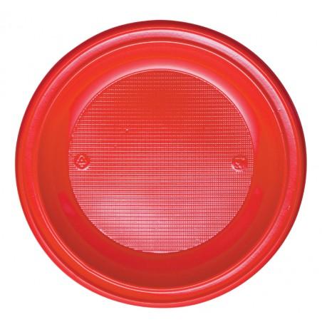 Plato de Plastico PS Hondo Rojo Ø220mm (30 Uds)