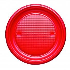 Plato de Plastico PS Llano Rojo Ø170mm (50 Uds)
