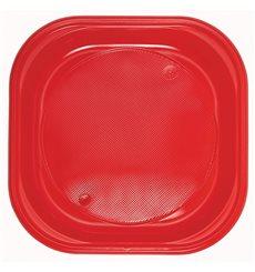 Plato de Plastico Cuadrado Rojo PS 170mm (720 Uds)