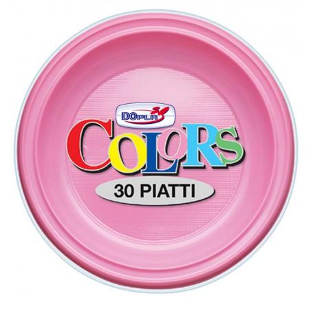 Plato de Plastico Llano Rosa PS 220 mm (30 Uds)