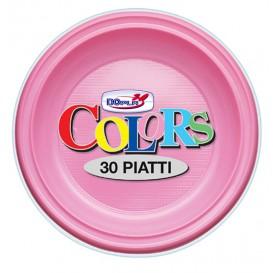 Plato de Plastico Hondo Rosa PS 220mm (600 Uds)