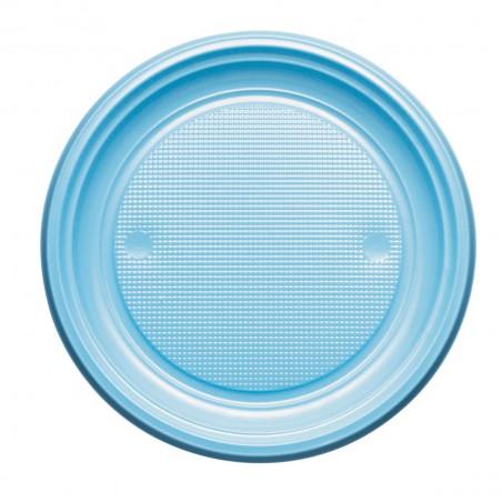 Plato de Plastico PS Llano Azul Claro Ø170mm (50 Uds)