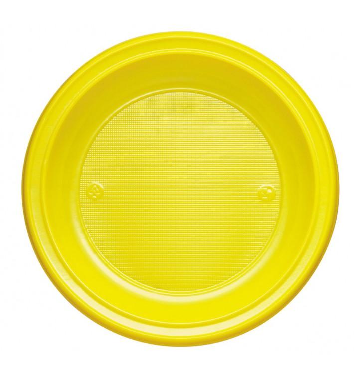 Plato de Plastico PS Hondo Amarillo Ø220mm (600 Uds)