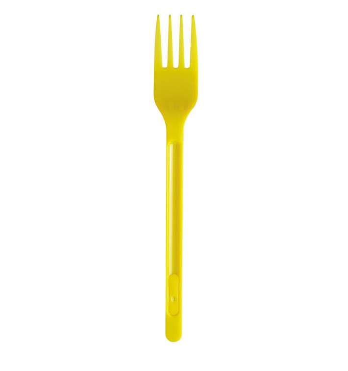Tenedor de Plastico PS Amarillo 175mm (20 Uds)