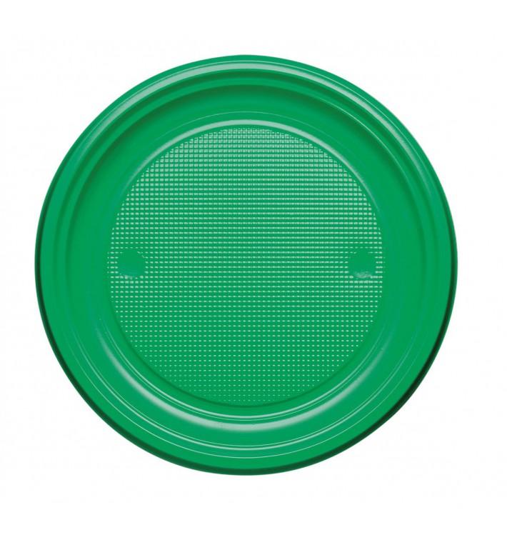 Plato de Plastico PS Llano Verde Ø170mm (50 Uds)