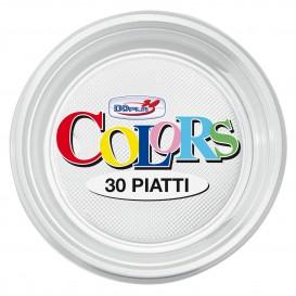Plato de Plastico Llano Transparente PS 220 mm (30 Uds)