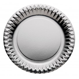 "Plato de Carton Redondo ""Party"" Plata Ø230mm (10 Uds)"