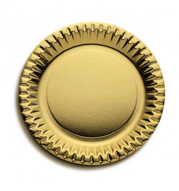 Plato de Carton Redondo Oro 230mm (10 Uds)